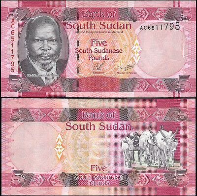 SOUTH SUDAN BANKNOTE 5 SOUTH SUDANESE POUNDS - P.6a ND (2011) UNC