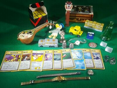 Junk Drawer Lot Sterling silver ,Pokemon Vintage Items watches