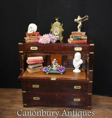 Antique Campaign Chest Secretaire Desk Secret Drawer