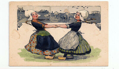 TWO DUTCH GIRLS are DANCING  Heavily Embossed PFB Antique Postcard # 174