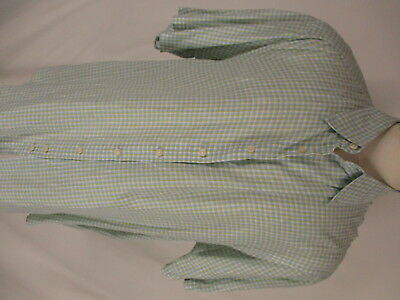 Thomas Pink Pure Linen Mens Green Blue Plaid Short Sleeve Shirt XXL