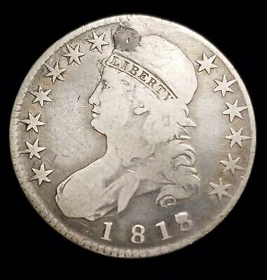 1818/7 Capped Bust Half Dollar 50c Overdate Coin with F/VF Details Filled