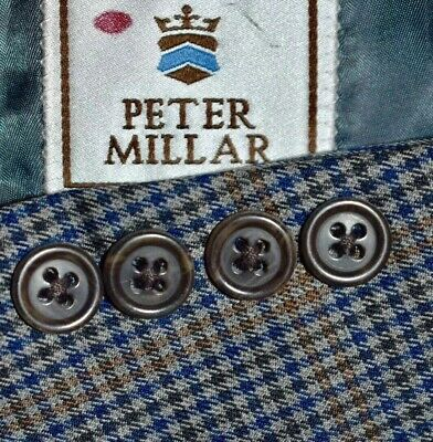 44L Peter Millar Blue Brown Plaid Sport Coat Blazer Jacket TALL