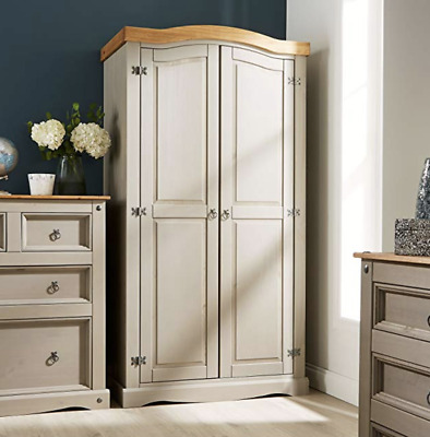 Solid Wood Wardrobe Bedroom Storage Furniture 2 Doors Antique Rustic Large Grey