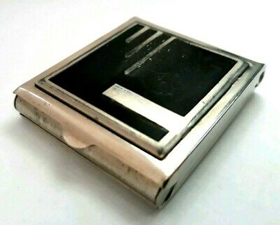 Vintage Art Deco ARMAND Small Double Vanity Compact.with Black Enameled Lid. SEE