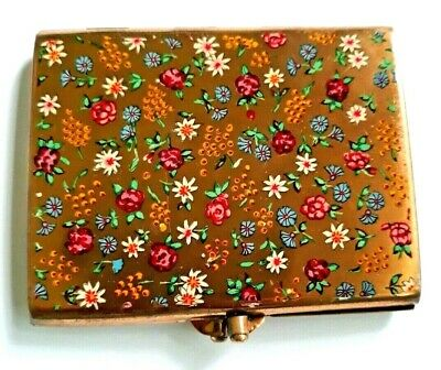 Vintage Rare Stratton Rectangular Powder Compact with Colorful Enameled Flowers