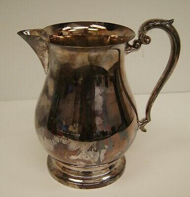 Vintage Silverplate Large Water Pitcher Crescent Antique A8588