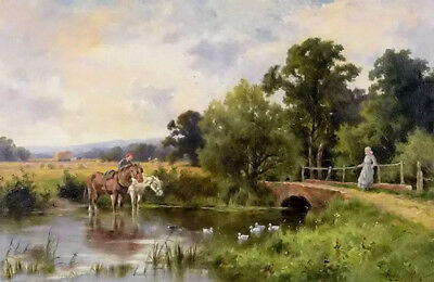 Dream-art oil painting henry hillier parker - watering the horses in landscape
