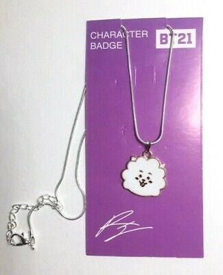 New BTS Bangtan Boys BT21 Character Badge Silver Necklace- RJ
