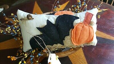Set Of 2 Halloween Pumpkin & Bat BOWL FILLER Primitive Style Tuck Ornie Pillow