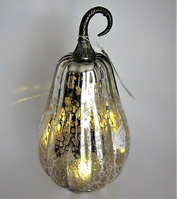 """Shabby Chic Led Lighted Blown Mercury Glass Pumpkin Gourd Silver Rusty Pink 12"""""""