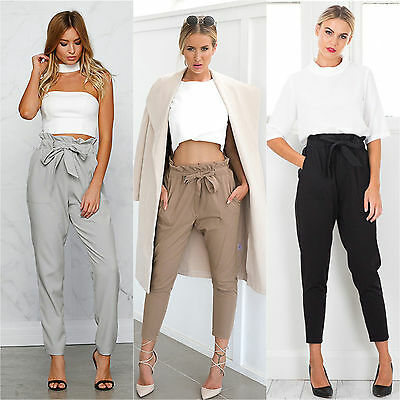 Womens High Waisted Pencil Trousers Casual Slim Fit Front Tie Long Harem Pants