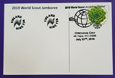 24th world scout jamboree 2019 / OPENING DAY Postmark on USPS postcard FINLAND