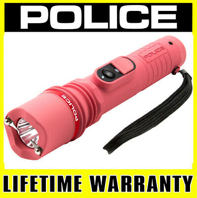 POLICE STUN GUN 306 Pink 170 BV Rechargeable With LED Tactical Flashlight
