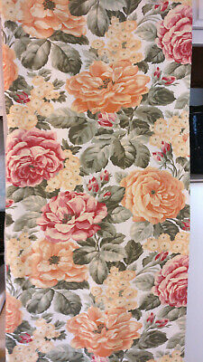 """2003 Waterford 100% Cotton Sateen Floral Tablecloth 67"""" X 99"""" Euc"""