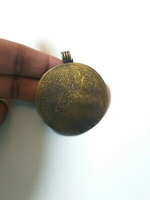 Antique Solid Brass Pendant  Vintage Cowrie Tibetan Tribal Women Retro opalite