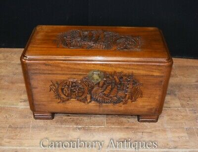 Antique Chinese Camphor Chest - Hand Carved Trunk Circa 1920