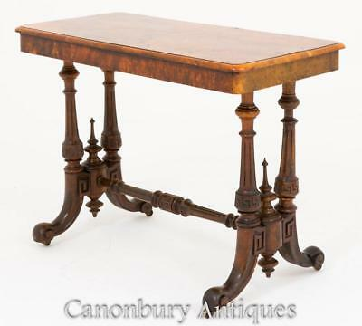 Victorian Library Table Desk -  Burr Walnut Stretcher Circa 1860