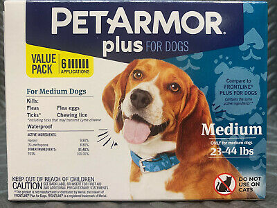 Pet Armor Plus Flea & Tick Treatment for Large Dogs 23-44 lbs (6 Pack)