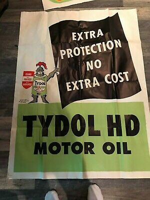 Vintage-----Flying A Service Station Poster----Tydol Hd Motor Oil--Very Large