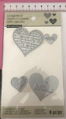 Recollections Cut And Emboss Dies Set 6pc ~ Valentines ~ Wedding ~ Hearts XOXO