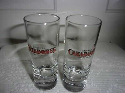 Tall Shot Glass with Heavy Base CAZADORES Tequila 100% AGAVE 2 Glasses