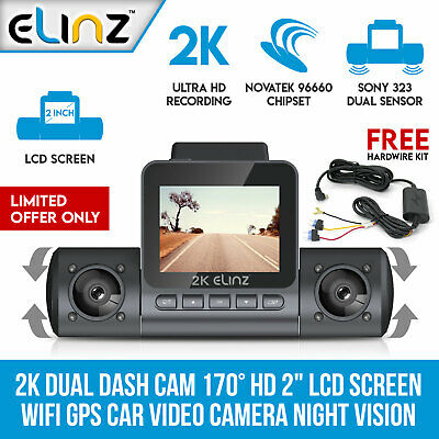 "4K Ultra HD Dual Dash Cam 3"" OLED Touch Screen WiFi GPS Sony Supercapacitor"