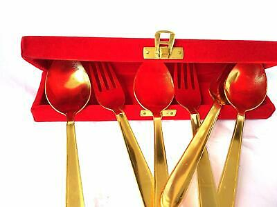 6 Piece Golden Table Spoon & Fork Set, (3 Table Spoons, 3 Forks) Free Shipping