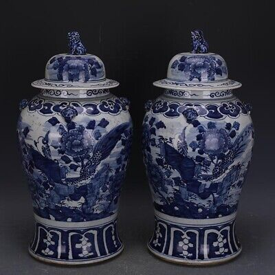 A Pair Nice Chinese Ming Blue White Porcelain Flowers Bird General Tank