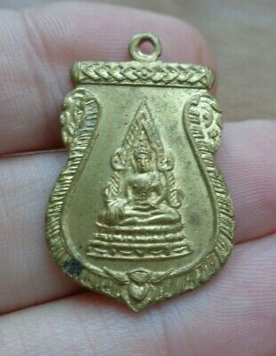 Old  Thai Gilt Brass  Buddha  Amulet  Charm Pendant  Protective Charm