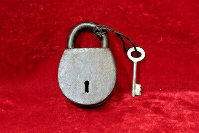 Brass Lock and Key Antique Vintage Old Iron Padlock Collectible BG-80