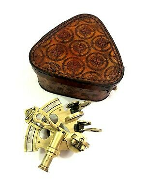 "Antique Brass Working Sextant 3"" Marine Nautical Astrolabe in Leather Cover"
