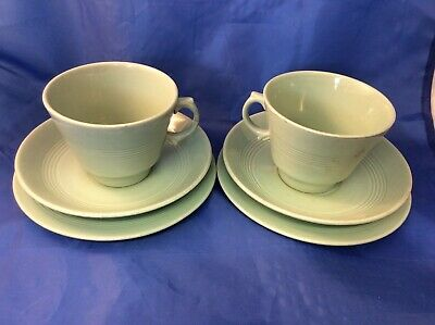 2 Vintage Beryl Woods Ware Green Pottery Trios - Cups, Saucers, Side Plates (N)