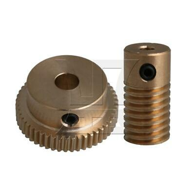 1:50 0.5-mode 50Teeth Industrial Brass Worm Gear & Shaft Reducer 3.17mm