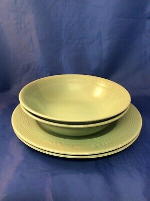 "Vintage Woods Ware Beryl GREEN - 2 x 6.5"" bowls and 2 x 9"" plates (N)"