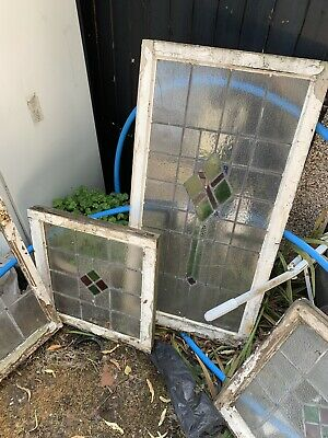 4 Stained 1930s Lead Light Glass Wooden Windows