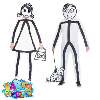 Adult Men Ladies Stick Man Woman Costume Funny Fancy Dress Outfit Stag Hen Party