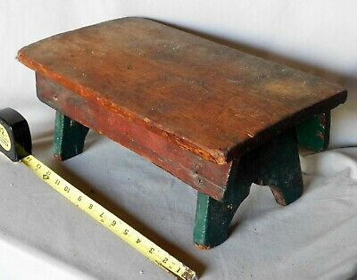 Antique footstool stool primitive painted red green 19th c prayer bench pine