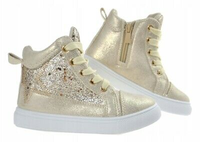 SPARKLY GLITTER GIRLS shoes high ankle HI TOP trainers BOOTS  7 - 11UK KIDS
