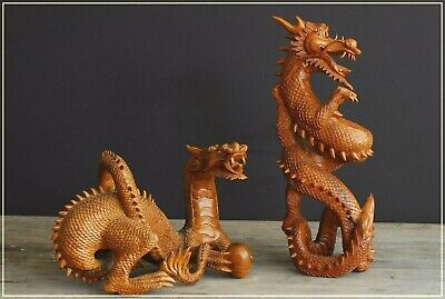 Stunning pair Vintage Antique Fine Hand Carved Wooden Chinese Oriental Dragons