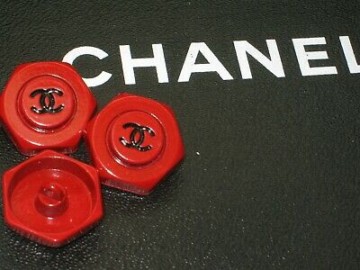 CHANEL  3 RED BLACK CC  20mm BUTTON THIS IS FOR THREE FLAWLESS