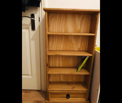 Rustic Wooden Bookcase Solid Wood Display Unit Small Storage Drawer Side Cabinet