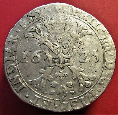 Silver Coin Spanish Netherlands Brabant Silver 1 Patagon Philip IV 1625