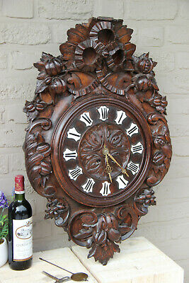 XL Top antique BLACK FOREST wood carved Wall clock Floral decor