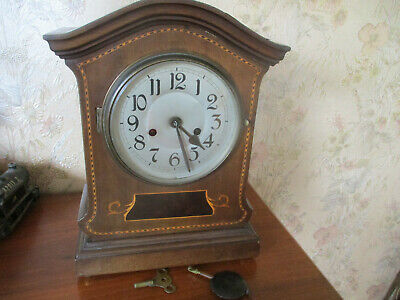 Antique Great T.a.r Shelf Mantle Clock Swiss Made 1900 Woodern Marketery Inlay