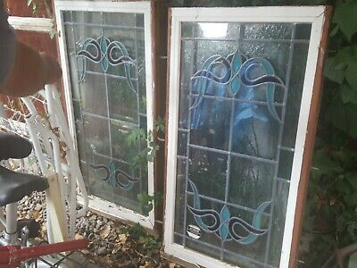 2x Stained Glass Leaded Wooden Window Old Antique Art Deco Nouveau White Blue
