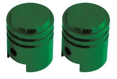 Bike It Motorcycle Tyre Pair Round Green Anodised Small Valve Caps BC6322 - T