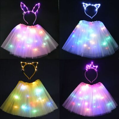 Children Tutu LED Glow Skirt Party Light Wire Cat Headband Neon Birthday Dancing