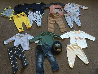 Boys Bundle Of 7 Outfits Clothes Tops Joggers Jeans 3-6 & 6-9 Months Next Boots