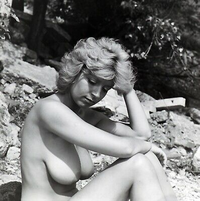 VINTAGE 6x6 B&W NEGATIVE Naked big breasted girl NUDES 1970's Hungary